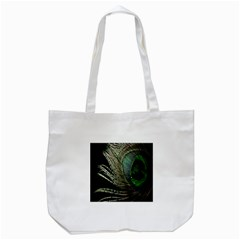 Feather Peacock Drops Green Tote Bag (White)
