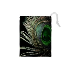 Feather Peacock Drops Green Drawstring Pouches (Small)