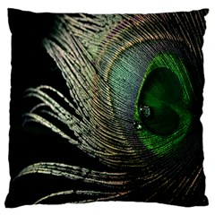 Feather Peacock Drops Green Large Flano Cushion Case (One Side)