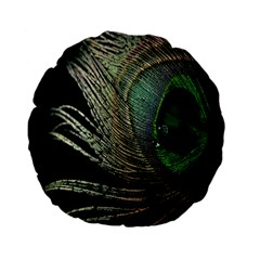 Feather Peacock Drops Green Standard 15  Premium Flano Round Cushions