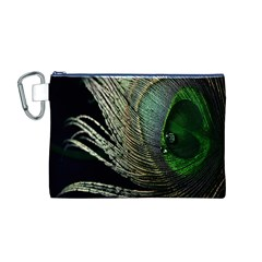 Feather Peacock Drops Green Canvas Cosmetic Bag (m)