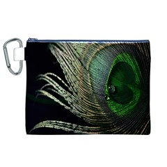 Feather Peacock Drops Green Canvas Cosmetic Bag (XL)