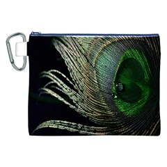 Feather Peacock Drops Green Canvas Cosmetic Bag (XXL)