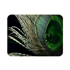 Feather Peacock Drops Green Double Sided Flano Blanket (Mini)