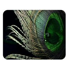 Feather Peacock Drops Green Double Sided Flano Blanket (Large)