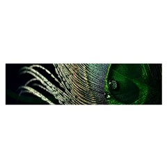 Feather Peacock Drops Green Satin Scarf (Oblong)
