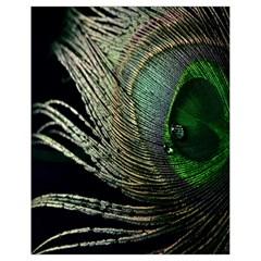 Feather Peacock Drops Green Drawstring Bag (Small)