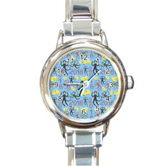 Cute Monkeys Seamless Pattern Round Italian Charm Watch