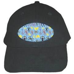 Cute Monkeys Seamless Pattern Black Cap