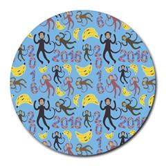 Cute Monkeys Seamless Pattern Round Mousepads