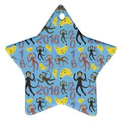 Cute Monkeys Seamless Pattern Ornament (Star)