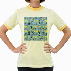 Cute Monkeys Seamless Pattern Women s Fitted Ringer T-Shirts