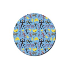Cute Monkeys Seamless Pattern Rubber Round Coaster (4 pack)