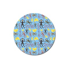 Cute Monkeys Seamless Pattern Magnet 3  (round)