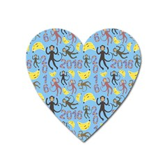 Cute Monkeys Seamless Pattern Heart Magnet