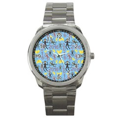 Cute Monkeys Seamless Pattern Sport Metal Watch