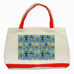 Cute Monkeys Seamless Pattern Classic Tote Bag (Red)