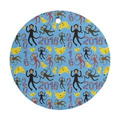 Cute Monkeys Seamless Pattern Round Ornament (Two Sides)