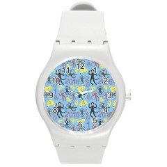 Cute Monkeys Seamless Pattern Round Plastic Sport Watch (M)