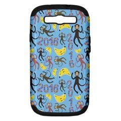 Cute Monkeys Seamless Pattern Samsung Galaxy S Iii Hardshell Case (pc+silicone)