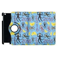 Cute Monkeys Seamless Pattern Apple iPad 2 Flip 360 Case