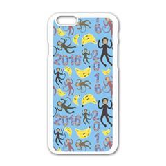 Cute Monkeys Seamless Pattern Apple iPhone 6/6S White Enamel Case