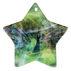 Digitally Painted Abstract Style Watercolour Painting Of A Peacock Ornament (star)
