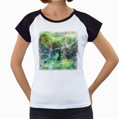 Digitally Painted Abstract Style Watercolour Painting Of A Peacock Women s Cap Sleeve T