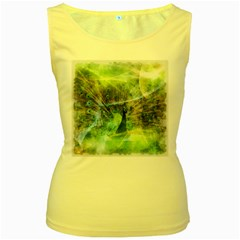 Digitally Painted Abstract Style Watercolour Painting Of A Peacock Women s Yellow Tank Top