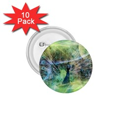 Digitally Painted Abstract Style Watercolour Painting Of A Peacock 1 75  Buttons (10 Pack)