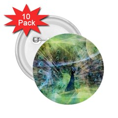 Digitally Painted Abstract Style Watercolour Painting Of A Peacock 2 25  Buttons (10 Pack)
