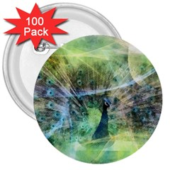Digitally Painted Abstract Style Watercolour Painting Of A Peacock 3  Buttons (100 Pack)