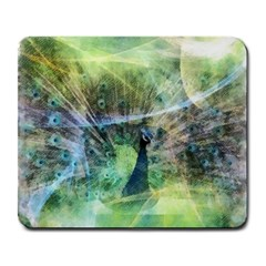 Digitally Painted Abstract Style Watercolour Painting Of A Peacock Large Mousepads