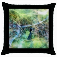 Digitally Painted Abstract Style Watercolour Painting Of A Peacock Throw Pillow Case (Black)