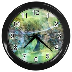 Digitally Painted Abstract Style Watercolour Painting Of A Peacock Wall Clocks (black)