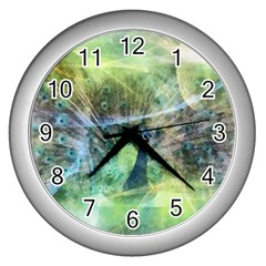 Digitally Painted Abstract Style Watercolour Painting Of A Peacock Wall Clocks (silver)