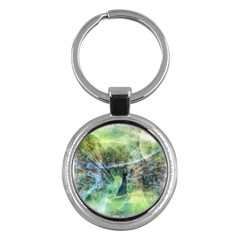Digitally Painted Abstract Style Watercolour Painting Of A Peacock Key Chains (Round)