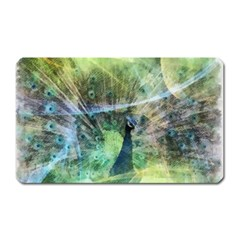 Digitally Painted Abstract Style Watercolour Painting Of A Peacock Magnet (Rectangular)