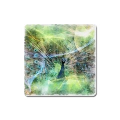 Digitally Painted Abstract Style Watercolour Painting Of A Peacock Square Magnet