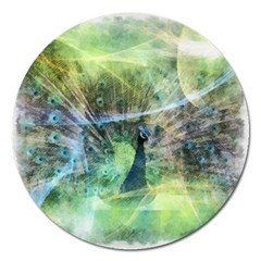 Digitally Painted Abstract Style Watercolour Painting Of A Peacock Magnet 5  (Round)