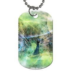 Digitally Painted Abstract Style Watercolour Painting Of A Peacock Dog Tag (Two Sides)