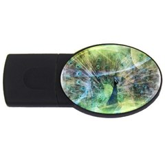 Digitally Painted Abstract Style Watercolour Painting Of A Peacock USB Flash Drive Oval (1 GB)