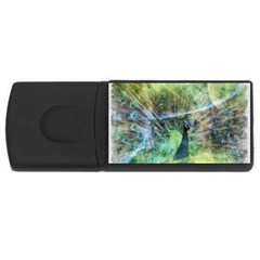 Digitally Painted Abstract Style Watercolour Painting Of A Peacock USB Flash Drive Rectangular (2 GB)