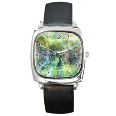 Digitally Painted Abstract Style Watercolour Painting Of A Peacock Square Metal Watch