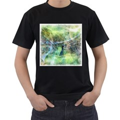 Digitally Painted Abstract Style Watercolour Painting Of A Peacock Men s T-Shirt (Black) (Two Sided)