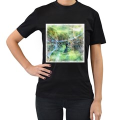 Digitally Painted Abstract Style Watercolour Painting Of A Peacock Women s T-Shirt (Black) (Two Sided)