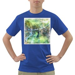 Digitally Painted Abstract Style Watercolour Painting Of A Peacock Dark T Shirt
