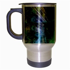 Digitally Painted Abstract Style Watercolour Painting Of A Peacock Travel Mug (Silver Gray)
