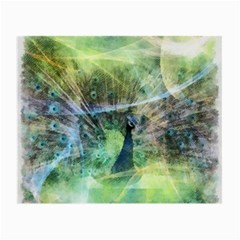 Digitally Painted Abstract Style Watercolour Painting Of A Peacock Small Glasses Cloth