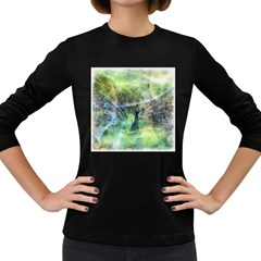 Digitally Painted Abstract Style Watercolour Painting Of A Peacock Women s Long Sleeve Dark T Shirts